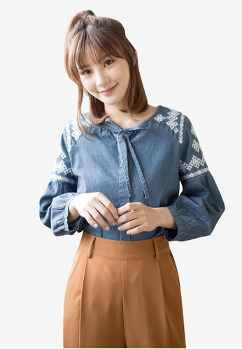 Tokichoi blue Embroidered Ribbon Detail Blouse 8720FAA694324AGS_1
