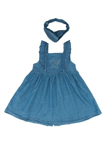 Babybol blue Baby's Dress And Headband 56AFDKA4DE4196GS_1