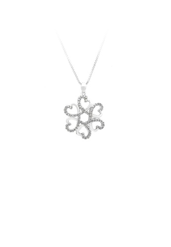 Glamorousky silver 925 Sterling Silver Flower Pendant with White Cubic Zircon and Necklace F6B9EAC65C8A33GS_1