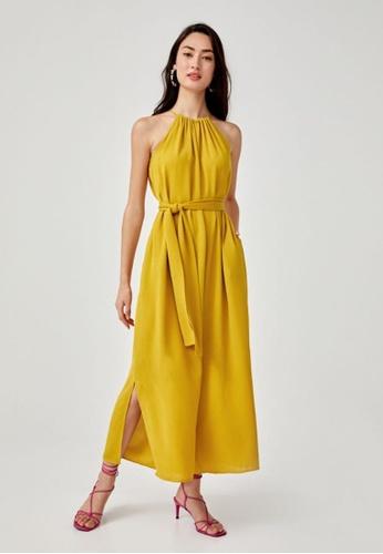 Love, Bonito yellow Havenne Sash Tie Halter Neck Jumpsuit F6787AA64CB6C1GS_1