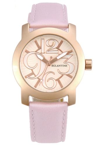 EGLANTINE gold EGLANTINE® Sara Pink Gold Plated Steel Quartz Watch on baby pink Strap FAE2CAC2F4B1CAGS_1