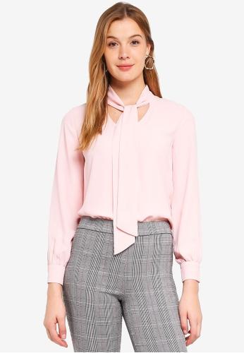 458dfbd9f17621 Dorothy Perkins pink Pink Long Sleeve Pussybow Top 9CF1BAA3AE8AE4GS 1