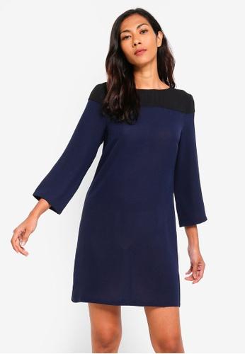 ZALORA BASICS navy Basic Colourblock Yoke Dress 2B969AA0675088GS_1