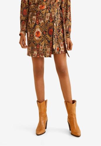 Mango orange Textured Printed Skirt E9FABAA0D38D1BGS_1