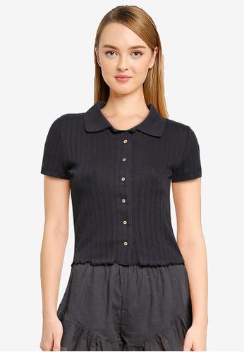 Cotton On Body black Knit Pointelle Polo Top CC88DAA61BE2B8GS_1