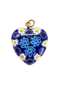 Murano Heart Pendant - Blue Empress