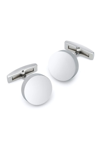 Crudo Leather Craft white Limite Zero Cerchio Cufflinks - White Gold 33707ACC35EC72GS_1