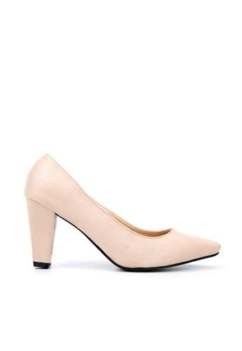 KissXXX 米褐色 久走不累厚粗跟美腿效果8CM尖頭高跟鞋 KI603SH09MS5TW_1