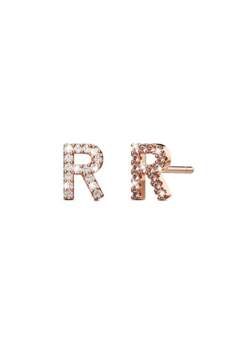 925 Signature silver 925 SIGNATURE Solid 925 Sterling Silver Glamour Alphabet Letter Earrings Rose Gold - R C342EACD8CB028GS_1