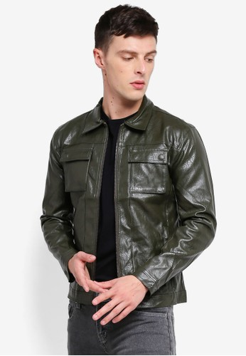 High Cultured green Biker Jacket 74 2C2B0AA0D3F7E0GS_1