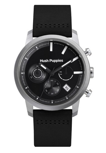 Hush Puppies Chrono Multifunction HP 6067M.2502 Black Silver Black Leather