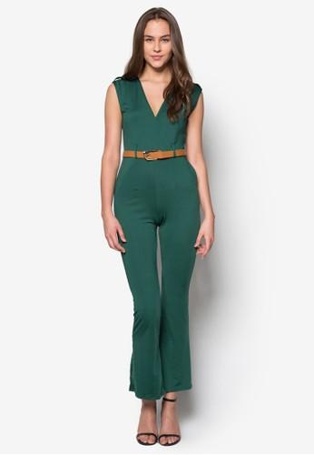 Vicesprit outlet 台中toria V 領貼身腰帶連身長褲, 服飾, 服飾
