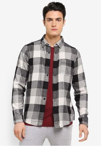 Hollister 灰色 Flannel Pattern Shirt HO422AA0T115MY_1
