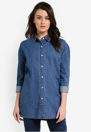 Zalia blue Washed Denim Tunic Shirt EA861ZZ2E98D0EGS_1
