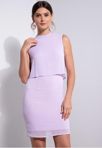 ZALORA OCCASION purple Mock Neck Layered Dress 5C3ADAAB0B7907GS_1