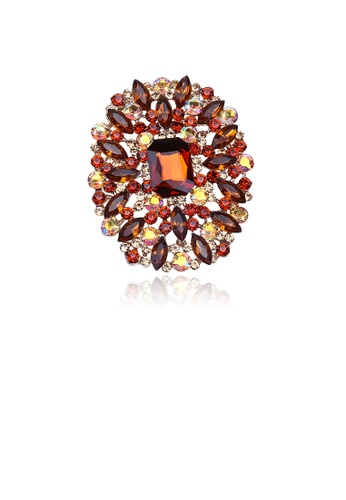 Glamorousky yellow Elegant and Bright Plated Gold Geometric Pattern Brooch with Yellow Cubic Zirconia 6A9D9AC5D7E12FGS_1