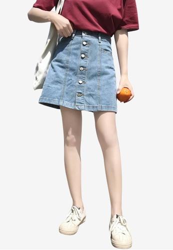 Lara 藍色 女裝單排鈕扣牛仔布短裙 A1A38AA1F1ADEAGS_1