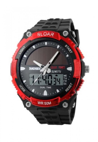 Fashion by Latest Gadget red 50M Waterproof Dual Mode Watch LA499AC92KIHPH_1