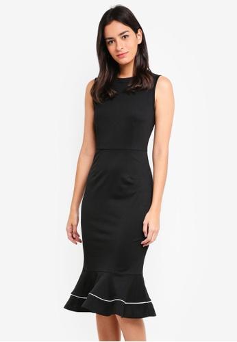 ZALORA black Flute Hem Midi Bodycon Dress D1FD5AA1F95B4EGS_1