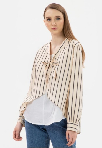 MKY Clothing beige MKY Double Fake Stripe Blouse in Beige F6562AA9720833GS_1