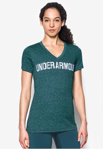 Under Armour green Threadborne V-Graphic Twist Top UN337AA0RUFOMY_1