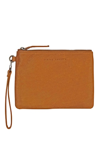 Status Anxiety brown Status Anxiety Fixation Full Grain Italian Leather Clutch - Tan 1E40DACEFEBD5AGS_1