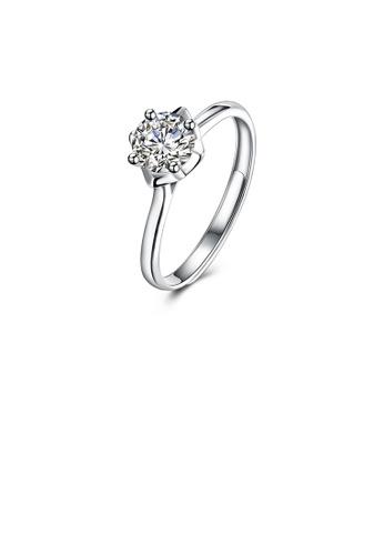 Glamorousky white 925 Sterling Silver Fashion Simple Geometric Round Cubic Zircon Adjustable Ring E5EBDAC071EC9BGS_1