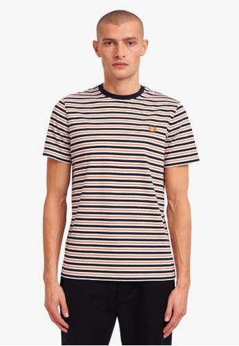 Fred Perry white M1608 - Fine Stripe T-Shirt - (Snow White) 541F2AA2BDB205GS_1
