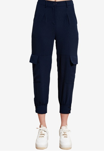 Trendyol navy Cargo Jogger Trousers 7DD8FAAE480A52GS_1
