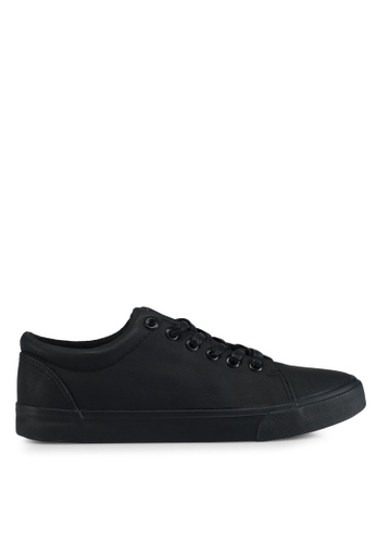 Penshoppe black Synthetic Leather Lace-Up Sneakers 5BF5DSHEE9A3F1GS_1