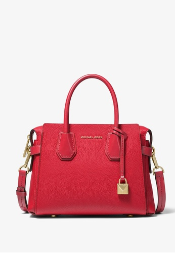 Michael Kors red Michael Kors Mercer Small Pebbled Leather Belted Satchel - Bright Red 147A8AC8FAB11FGS_1