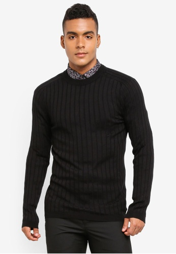 River Island black Muscle Fit Ribbed Crew Neck Jumper B9DFBAAC894574GS_1