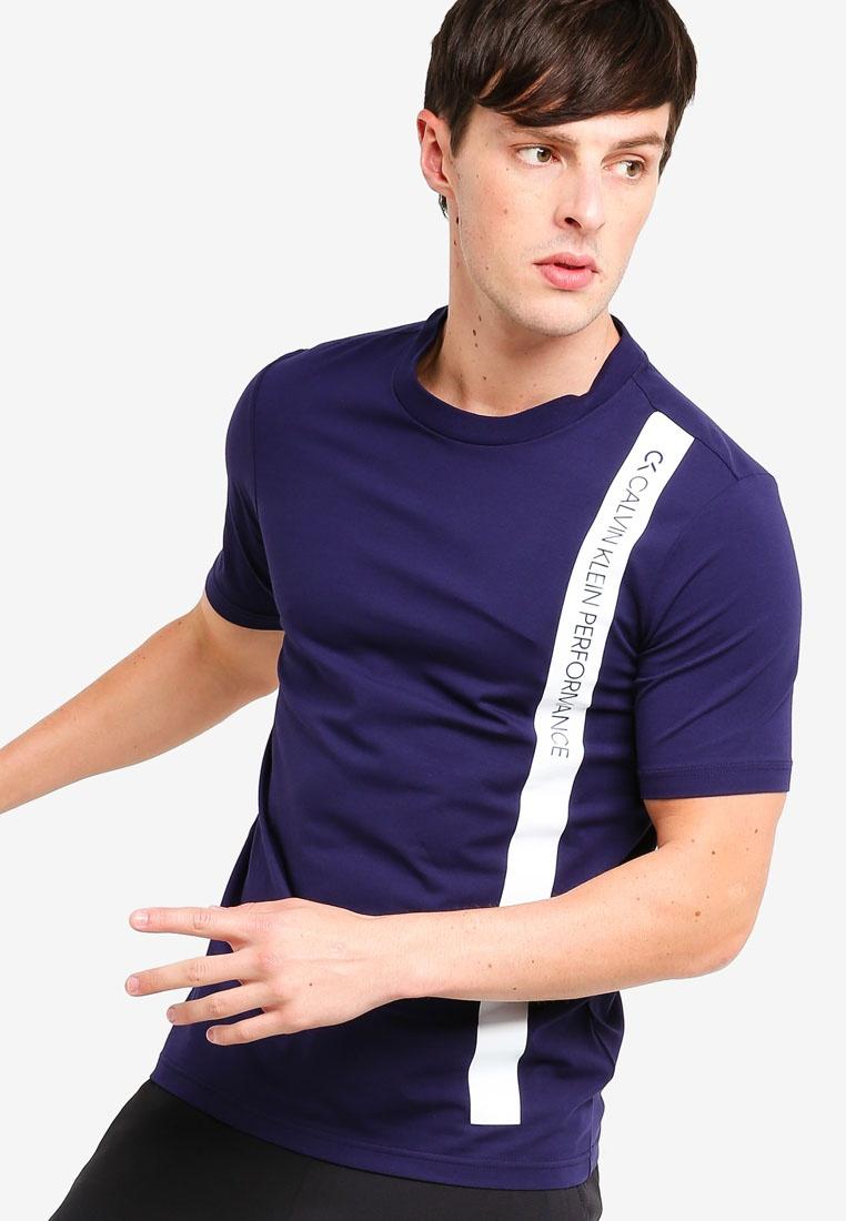 Klein Calvin Klein White Tee Stripe Calvin Sleeves Evening Bright Performance Short Bold Blue xOq81Xn