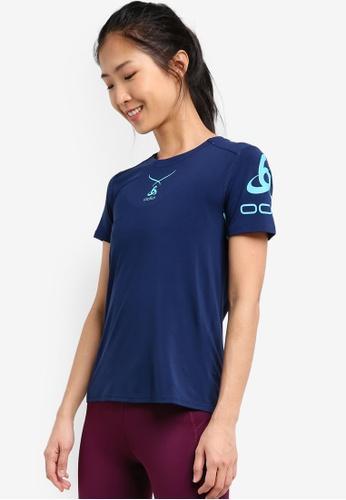 Odlo blue Crew Neck Ceramicool Print Short Sleeve Shirt OD608AA0S11YMY_1