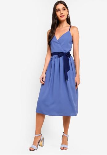 ZALORA blue and multi Cross Back Overlap Dress A981BAA39136A0GS_1