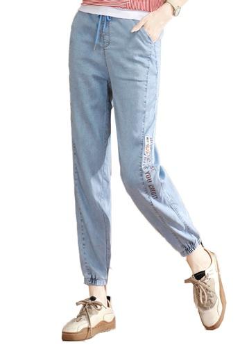 A-IN GIRLS blue Elastic Waist Band Jeans FE470AA4F30B9EGS_1
