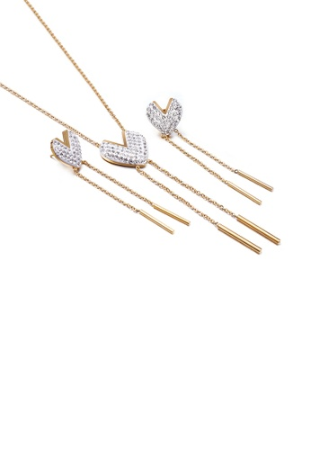 Glamorousky white Simple and Fashion Plated Gold Heart-shaped Tassel 316L Stainless Steel Necklace and Earrings Set with Cubic Zirconia B09CFAC7E56692GS_1