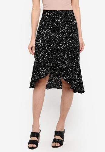 ZALORA black Wrap Over Ruffle Skirt 8C6D8AAAE9DAFAGS_1