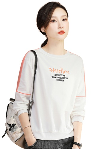A-IN GIRLS white Fashion Color Block Round Neck Sweater EE7FFAAE24D600GS_1