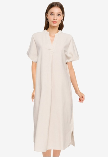 GLOBAL WORK beige Shift A-Line Dress C2FA5AA765A4C7GS_1