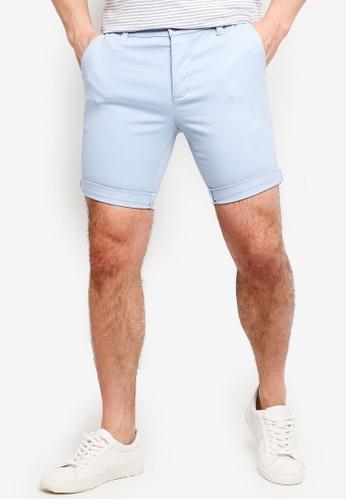 9581759eb5 Buy Topman Light Blue Stretch Skinny Chino Shorts Online on ZALORA ...