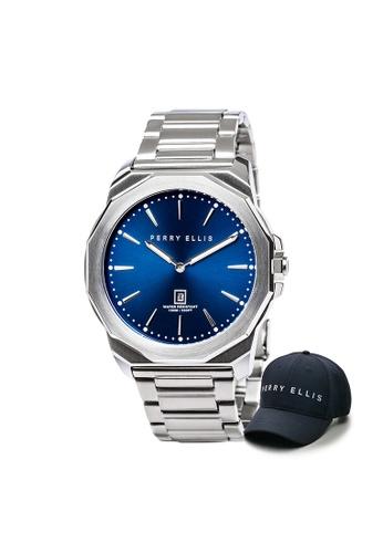 Perry Ellis blue Perry Ellis Decagon Men 46mm Quartz Stainless Steel Watch 05002-02 with Perry Ellis Cap 76D18ACD022F22GS_1