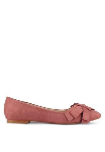 Velvet pink Bow Ballerina Flats 9E902SHC93C27CGS_1