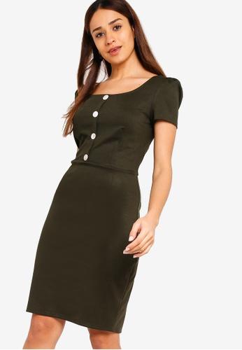 ZALORA green Button Detail Knit Sheath Dress 6CEF0AA628CCAFGS_1