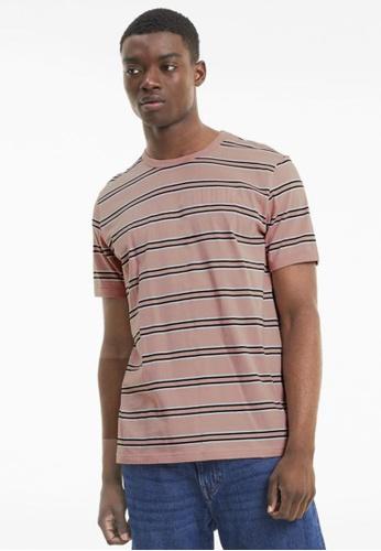 puma pink Modern Basics Striped Men's Tee 9E330AAF6D6A8EGS_1