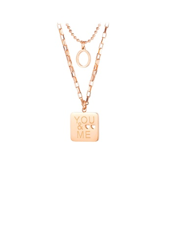 Glamorousky silver Fashion Simple Plated Rose Gold Geometric Square 316L Stainless Steel Pendant with Double Necklace 3C553AC4404350GS_1
