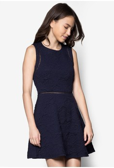 Textured Cut In Fit And Flare Dress