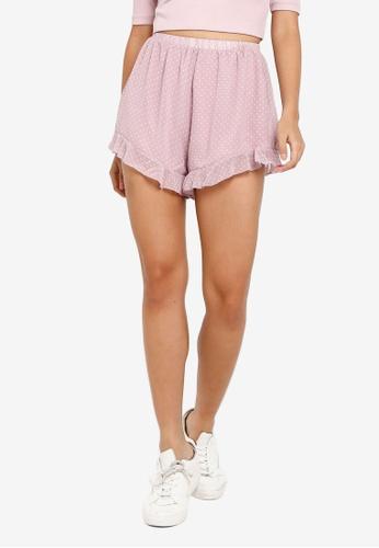 Something Borrowed pink Frilled Hem Chiffon Shorts 9908CAAD5B1FC4GS_1