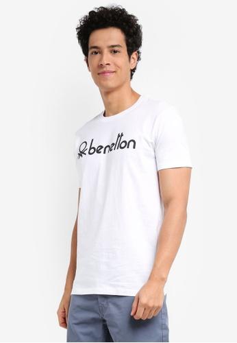 United Colors of Benetton 白色 基本款Logo短袖T恤 8926CAABE15C3DGS_1