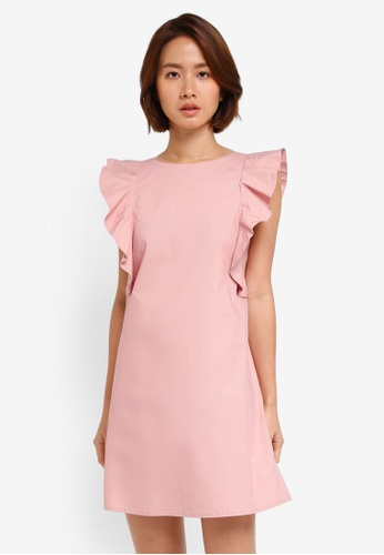 ZALORA pink Ruffle Sleeve Dress E72ACAAB9CDF66GS_1